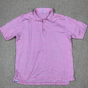 Peter Millar pink & white striped polo size Large